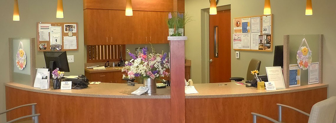 Reception desk at Rosebud Health Care Center